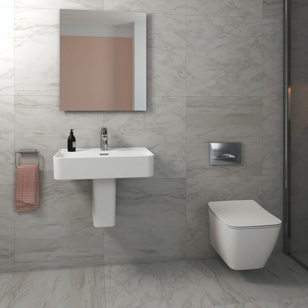 Ideal Standard Strada II wall hung cloakroom suite with semi pedestal basin 600mm