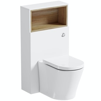 Mode Tate white & oak slimline back to wall toilet unit and toilet with soft close seat