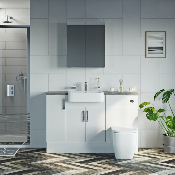 Mode Nouvel gloss white small fitted furniture & mirror combination with mineral grey worktop