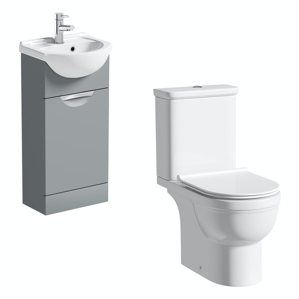 Orchard Elsdon stone grey cloakroom suite with Elsdon close coupled toilet and soft close slimline seat