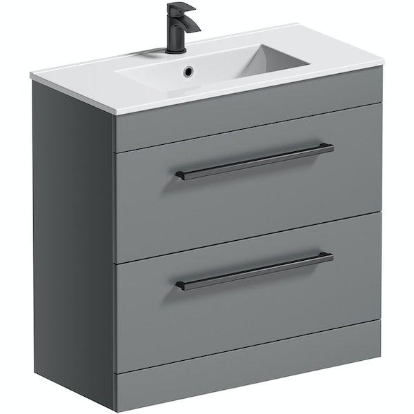 Orchard Derwent stone grey floorstanding vanity unit with black handle and ceramic basin 800mm
