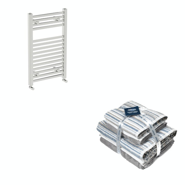 Orchard Wye chrome heated towel rail 800x490 with Silentnight Zero twist grey 4 piece towel bale