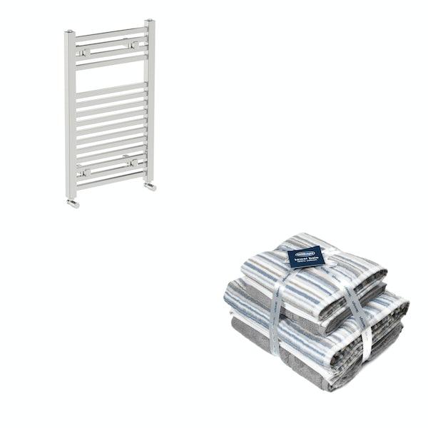 Orchard Wye chrome heated towel rail 800x490 with Silentnight Zero twist grey 4 piece towel bale