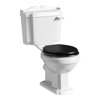 The Bath Co. Winchester close coupled toilet with black wood seat with pan connector