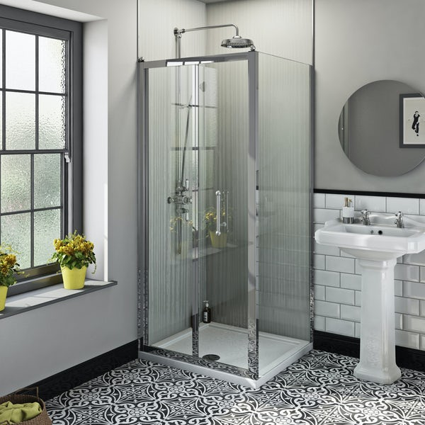The Bath Co. Winchester traditional 6mm rectangular bifold shower enclosure