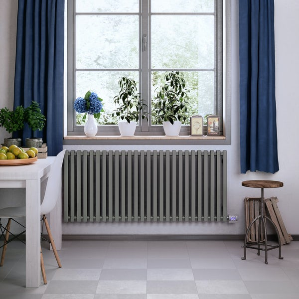 Terma Triga E metallic stone electric radiator with KTX 4 Blue element - silver