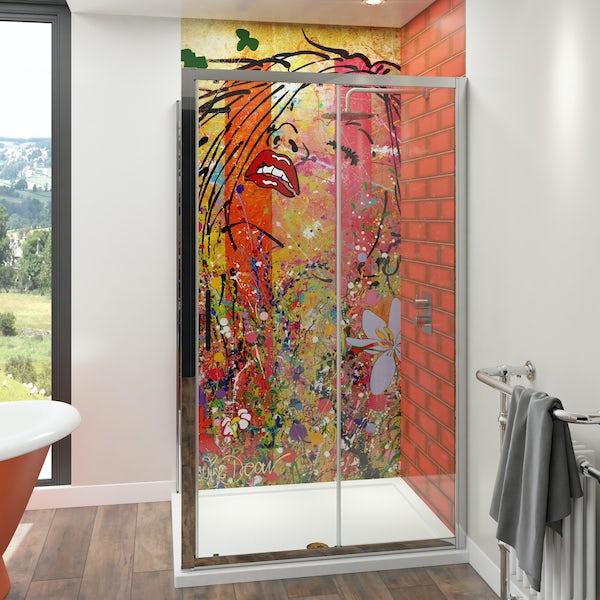 Louise Dear Yum Yum acrylic shower wall panel with 1200 x 900mm rectangular enclosure