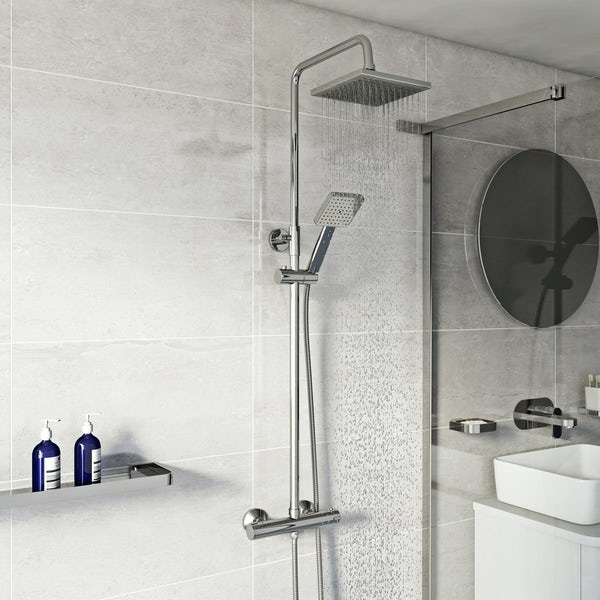 Orchard Elsdon square thermostatic exposed mixer shower