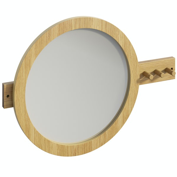 Mode South Bank natural wood round mirror with robe hooks