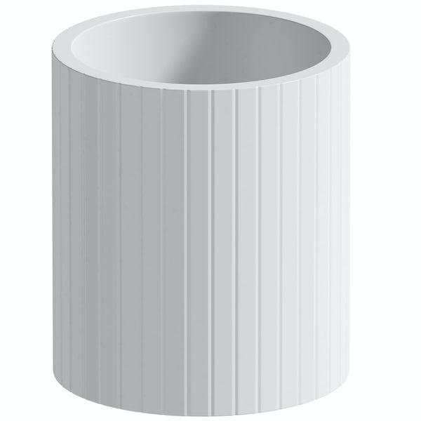 Accents Navagio white ceramic 3 piece bathroom set with soap dish