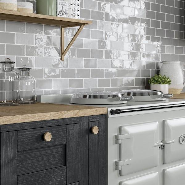Annecy light grey gloss wall tile 75mm x 150mm