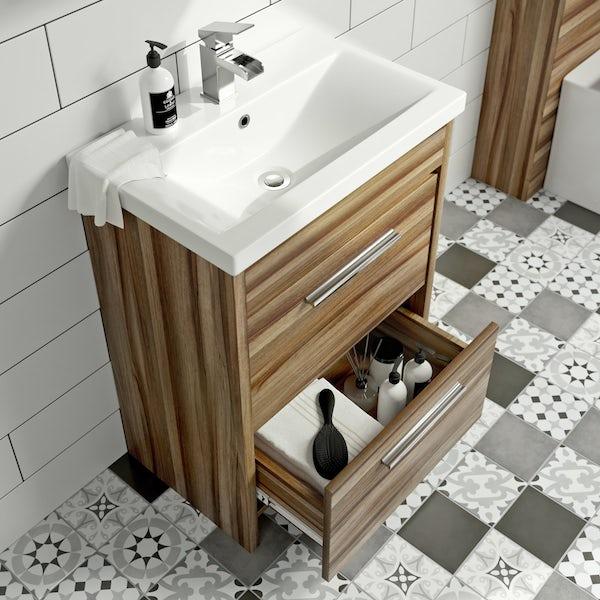 Clarity Walnut Vanity Drawer Unit With Basin 600mm Victoriaplum Com