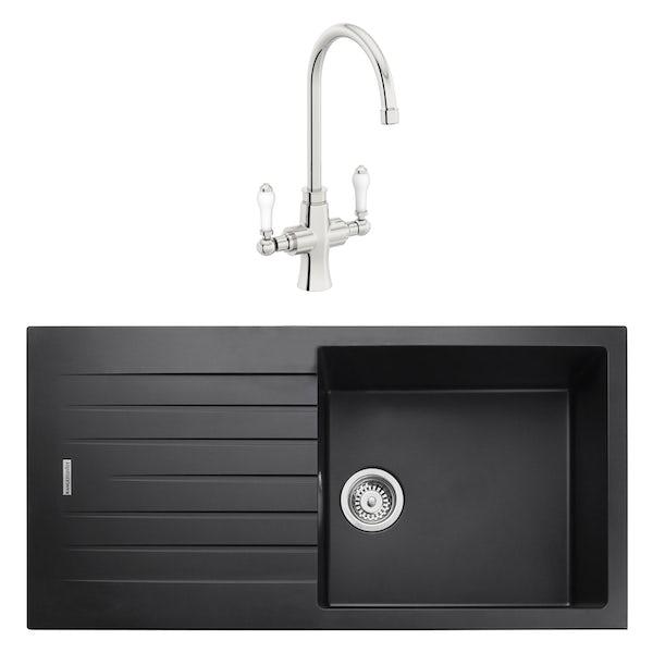 Rangemaster Andesite 1.0 bowl granite kitchen sink with waste and Schon traditional kitchen tap
