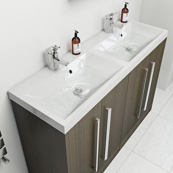 Wye walnut double basin unit 1200mm