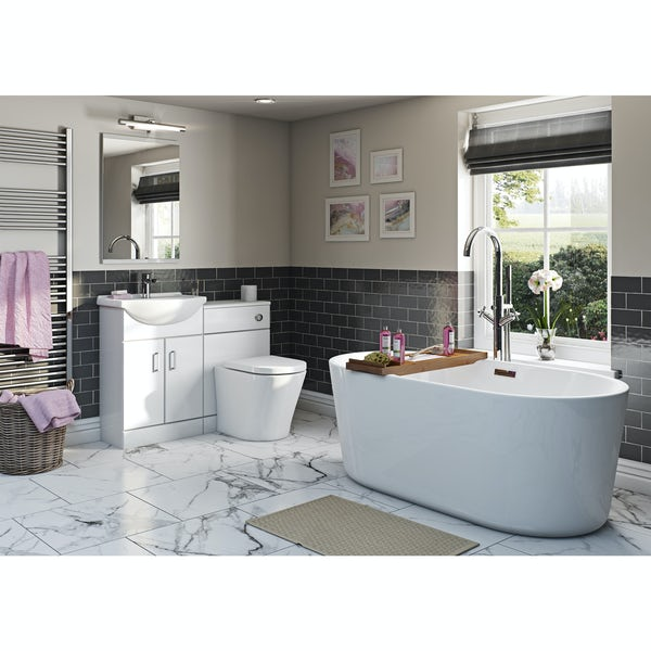 Eden white suite with Arte freestanding bath