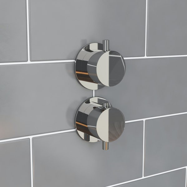 Mode Hardy round twin thermostatic shower valve