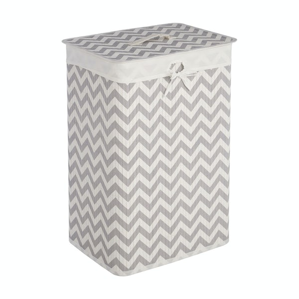 Accents Natural bamboo white and grey chevron rectangular laundry basket
