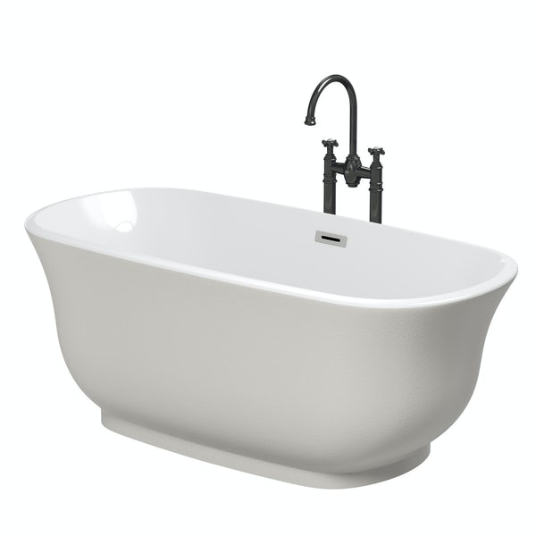 The Bath Co. Camberley pearl coloured traditional freestanding bath with tap pack