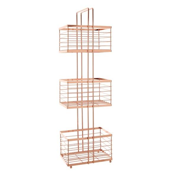 Freestanding 3 tier rose gold bathroom storage caddy