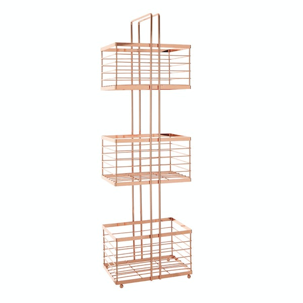 Freestanding 3 tier rose gold bathroom storage caddy