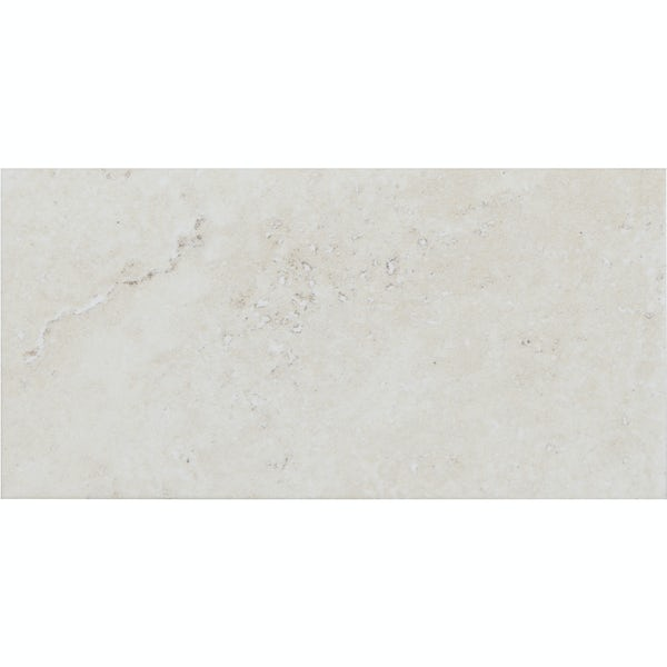 Ibera ivory stone effect matt wall tile 100mm x 200mm