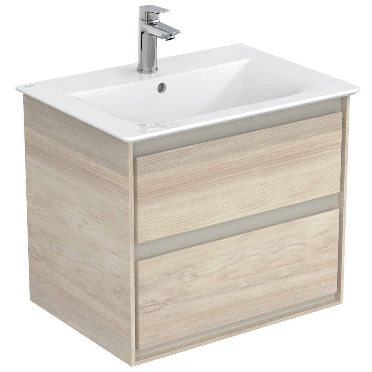 Ideal Standard Concept Air wood light brown wall hung vanity unit and basin 600mm