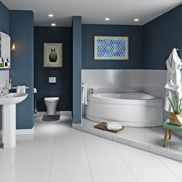 Mode Camden complete right handed corner bath suite