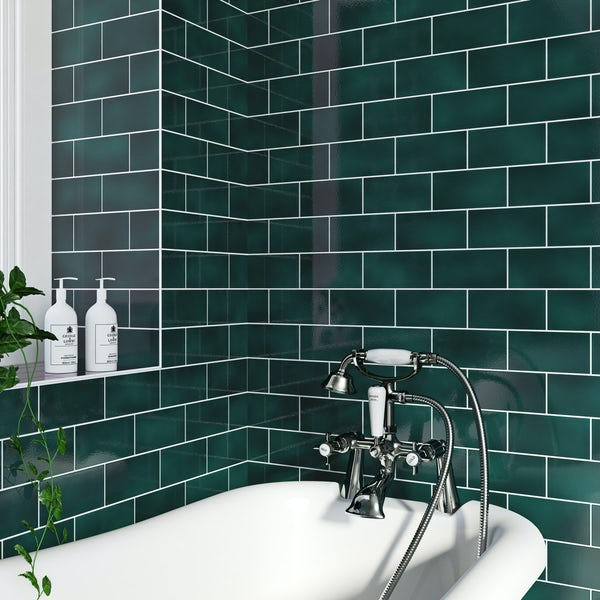 Va Puddle Glaze Peacock Plain Field Tile 152mm X 76mm