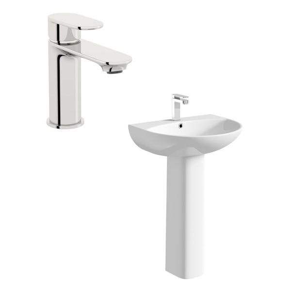 Orchard Derwent round 1 tap hole full pedestal basin 550mm with tap