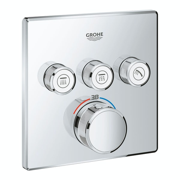 Grohe Grohtherm SmartControl square thermostatic concealed 3 way shower valve trimset
