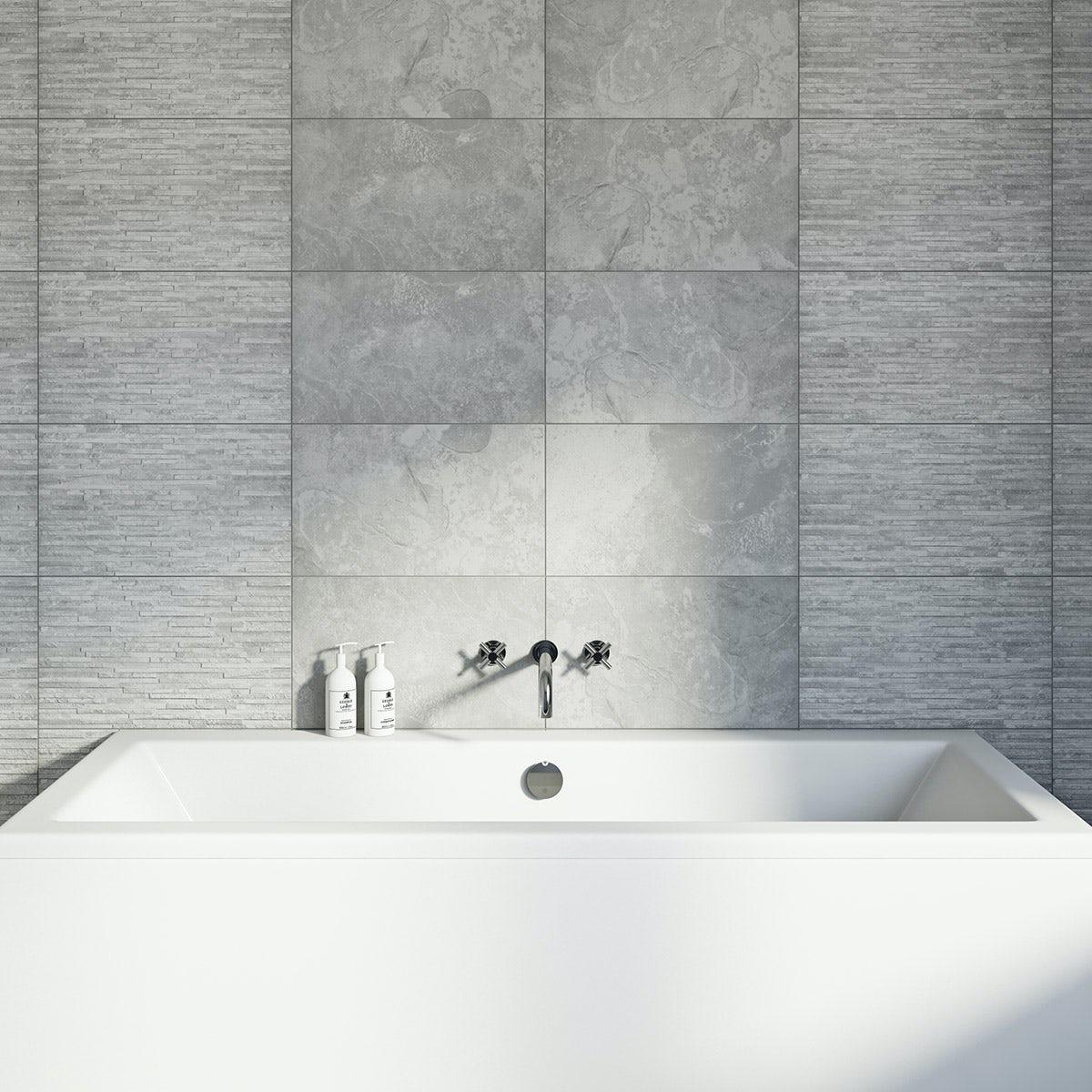 British Ceramic Tile Slate Light Rib Structure Grey Matt
