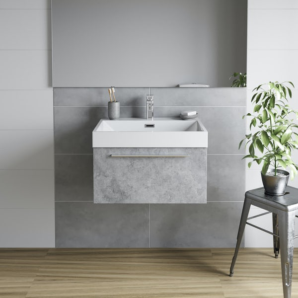 Mode Morris dark concrete grey wall hung vanity unit and basin 600mm