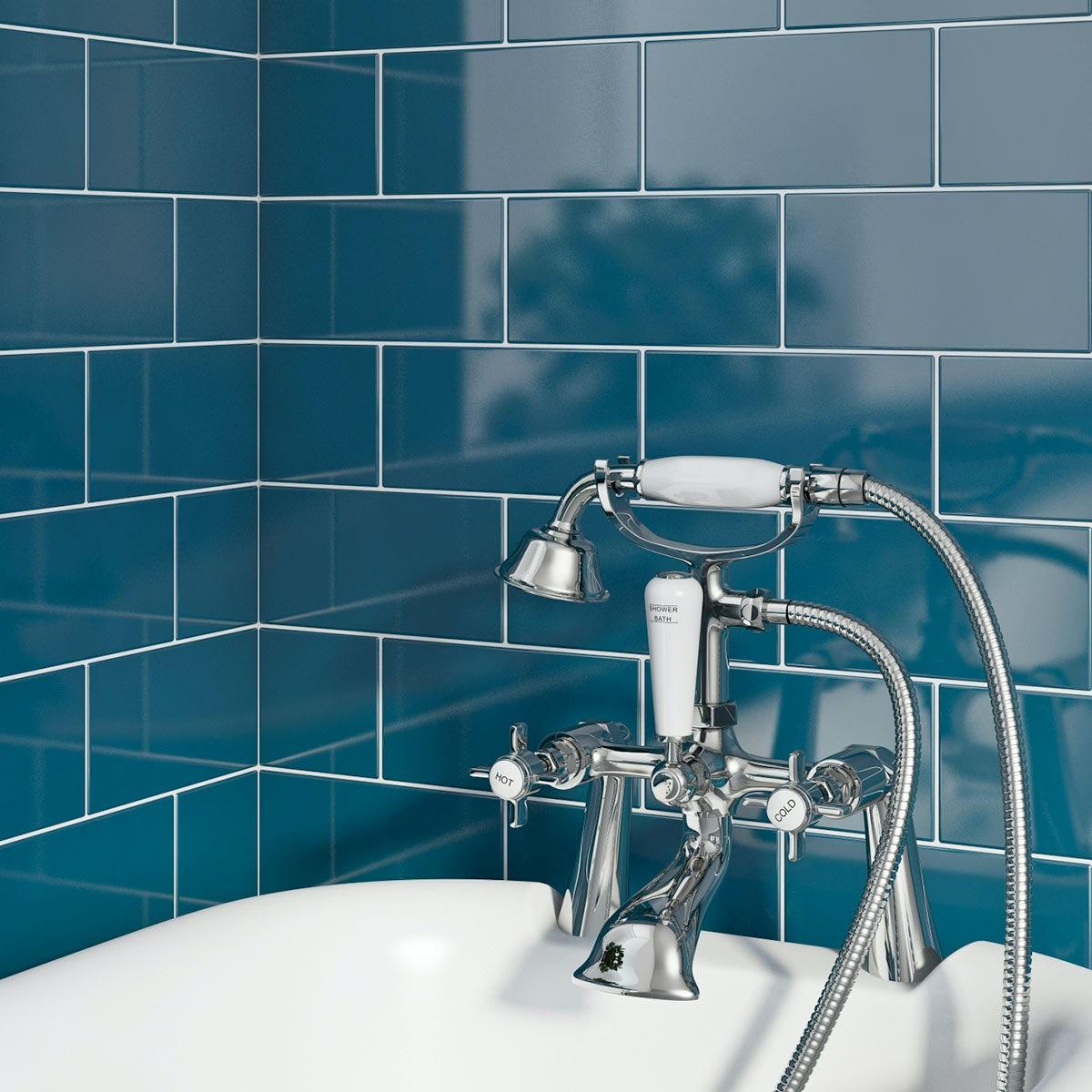 British Ceramic Tile Metro Flat Navy, Navy Blue Bathroom Tiles
