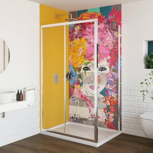 Louise Dear The Serenade Yellow acrylic shower wall panel pack with rectangular enclosure