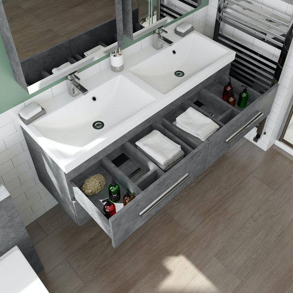 Orchard Kemp wall hung double vanity unit and basin 1200mm with tap