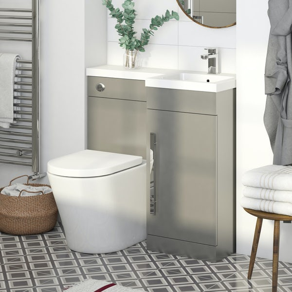 Orchard MySpace slate matt grey right handed combination with contemporary back to wall toilet