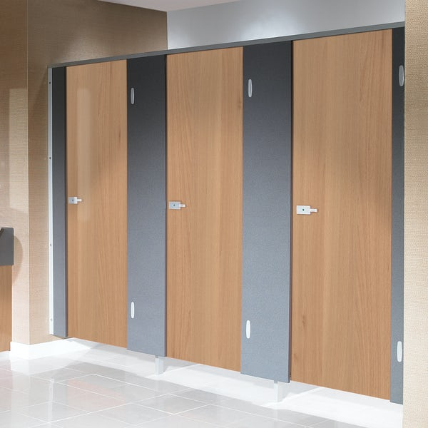 Pendle woodgrain toilet cubicle door pack with anthracite pilasters