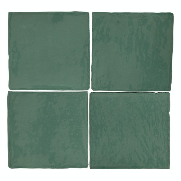 Marseille green mix gloss wall tile 100mm x 100mm