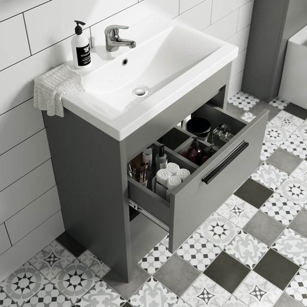 Clarity Compact white floorstanding vanity unit with black handle and basin 410mm