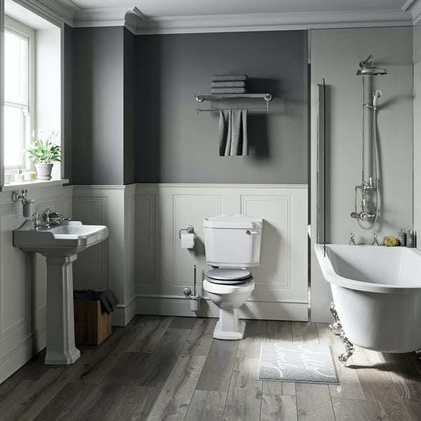 The Bath Co. Winchester grey freestanding shower bath suite