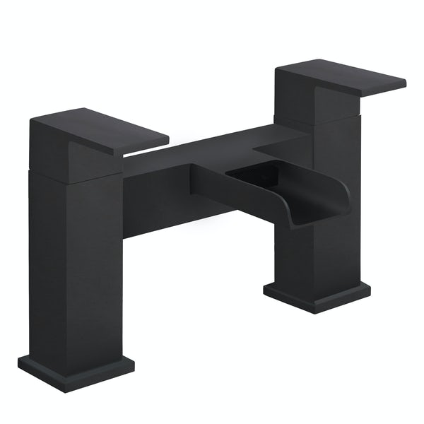 Orchard Derwent waterfall black bath mixer tap