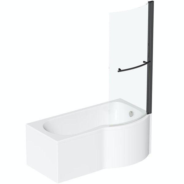 Orchard P shaped right handed shower bath with 6mm matt black shower screen with rail