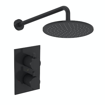 Mode Spencer round thermostatic twin valve matt black shower set