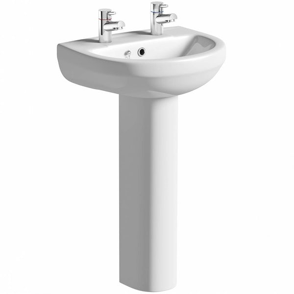 Eden 2 tap hole full pedestal basin with waste