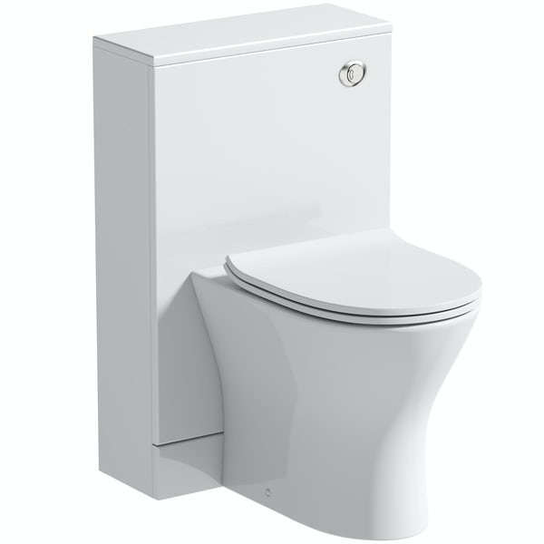 Orchard Derwent white back to wall unit and round compact toilet with soft close slim seat