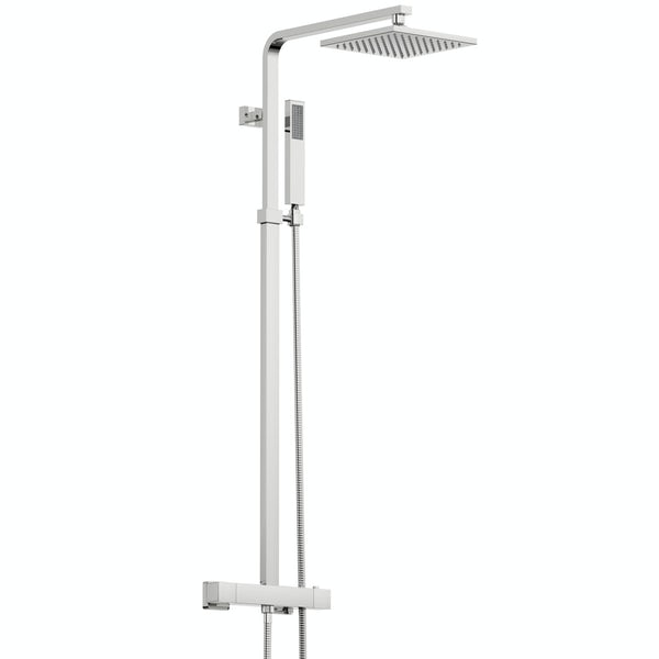 Mode 8mm walk in shower enclosure pack with thermostatic shower system 1400 x 900