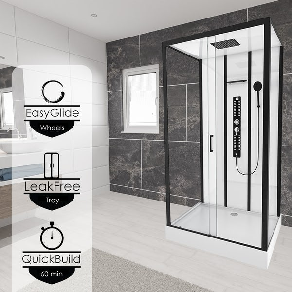 Insignia Monochrome black framed rectangular shower cabin 1150 x 850