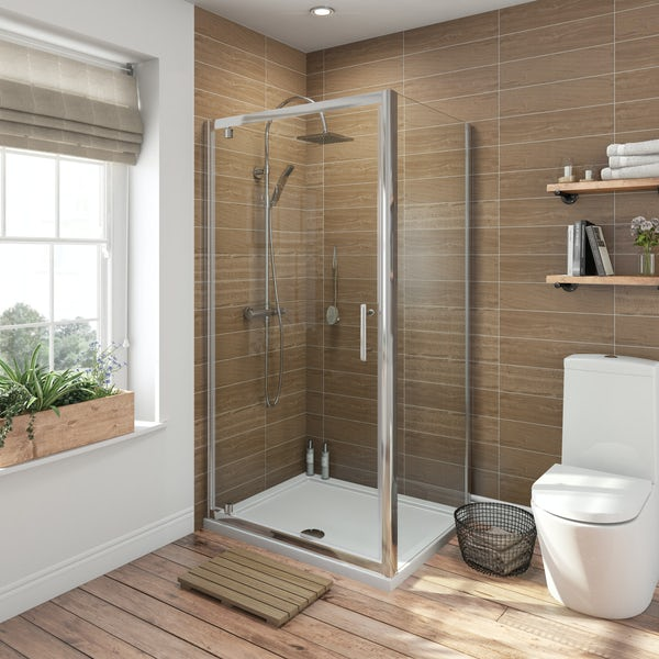 6mm rectangular pivot shower enclosure with stone shower tray