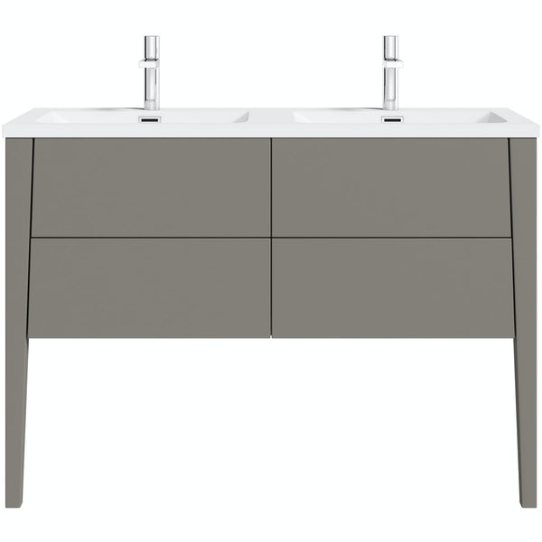 Mode Hale Grey Stone Matte Wall Hung Double Vanity Unit