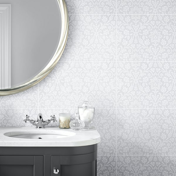 Laura Ashley Annecy powder grey matt wall and floor tile 298mm x 498mm